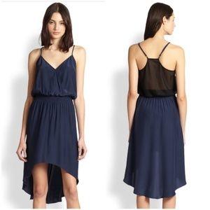Parker women XS Jamie silk mesh back Hi-Lo dress